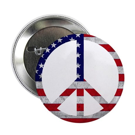 """American Flag Peace Sign 2.25"""" Button (10 pack)"""