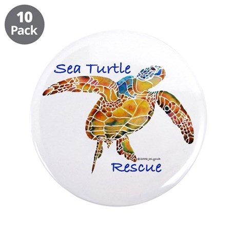 """Sea Turtles 3.5"""" Button (10 pack)"""