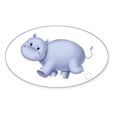 Indigo Hippo Oval Decal