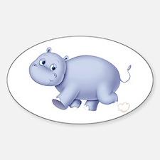 Indigo Hippo Oval Decal