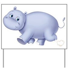 Indigo Hippo Yard Sign