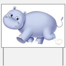 Indigo Hippo Yard Sign