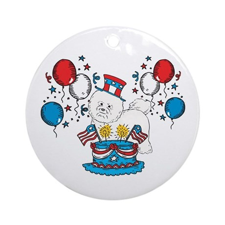 4th of July Bichon Frise Ornament (Round)