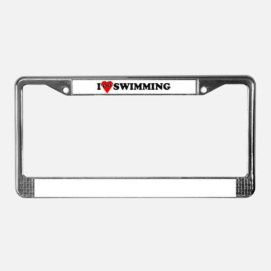 I Love Swimming License Plate Frame
