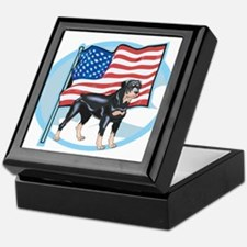 Patriotic Rottweiler Keepsake Box