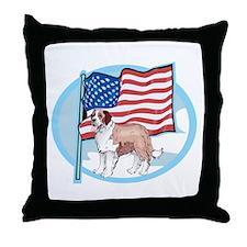 Patriotic St Bernard Throw Pillow