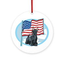 Patriotic Scottie Ornament (Round)