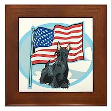 Patriotic Scottie Framed Tile