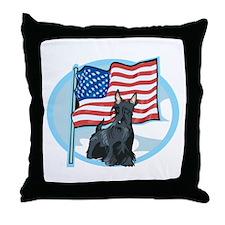 Patriotic Scottie Throw Pillow