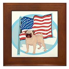 Patriotic Pug Framed Tile