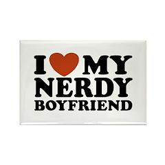 I Love My Nerdy Boyfriend Rectangle Magnet