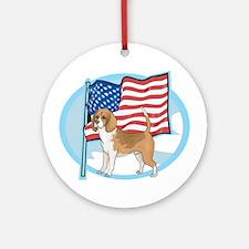 Patriotic Beagle Ornament (Round)