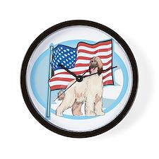 Patriotic Afghan Hound Wall Clock