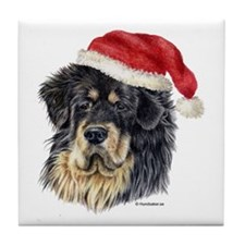 Christmas Tibetan Mastiff Tile Coaster