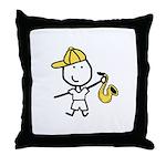 Boy & Sax Throw Pillow