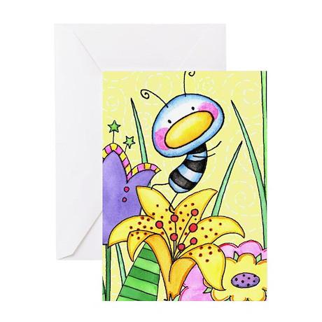 Bug In Flower Garden Greeting Card