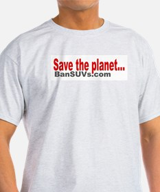 Save The Planet Ash Grey T-Shirt