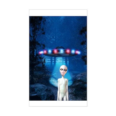 Forest Night UFO Visitation Rectangle Sticker