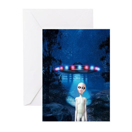 Forest Night UFO Visitation Greeting Cards (Pk of