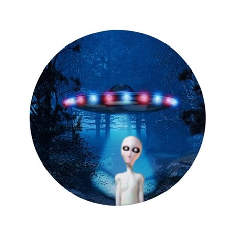 """Forest Night UFO Visitation 3.5"""" Button (100 pack)"""