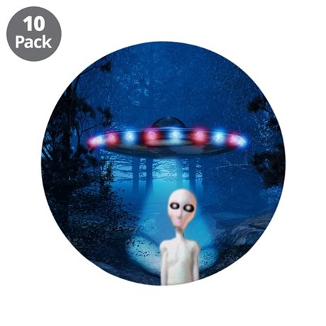 "Forest Night UFO Visitation 3.5"" Button (10 pack)"
