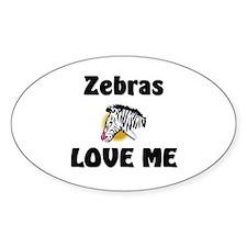 Zebras Loves Me Oval Decal