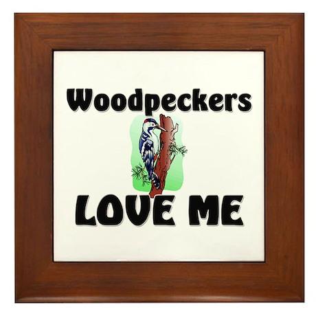 Woodpeckers Loves Me Framed Tile