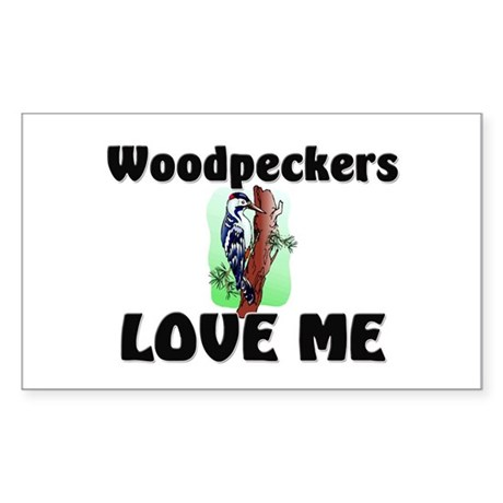 Woodpeckers Loves Me Rectangle Sticker