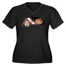 Funny Basset hound Women's Plus Size V-Neck Dark T-Shirt