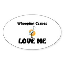 Whooping Cranes Love Me Oval Decal