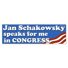 Jan Schakowsky speaks for me bumper sticker