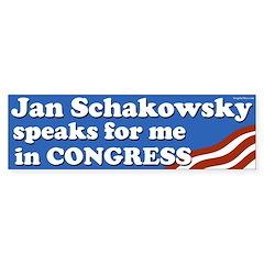 Jan Schakowsky speaks for me bumper sticker