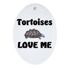Tortoises Love Me Oval Ornament