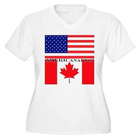 AMERICanadian Women's Plus Size V-Neck T-Shirt