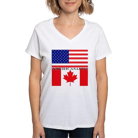 AMERICanadian Women's V-Neck T-Shirt