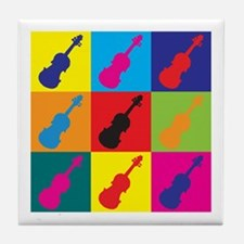 Violin Pop Art Tile Coaster