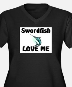 Swordfish Love Me Women's Plus Size V-Neck Dark T-