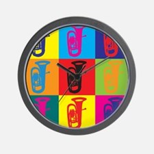 Tuba Pop Art Wall Clock