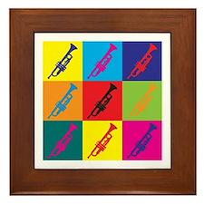 Trumpet Pop Art Framed Tile