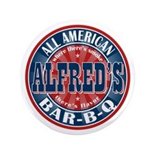 "Alfred's All American Bar-b-q 3.5"" Button"