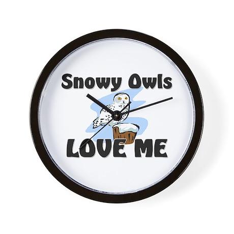 Snowy Owls Love Me Wall Clock