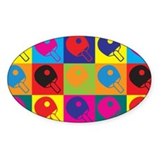 Table Tennis Pop Art Oval Decal