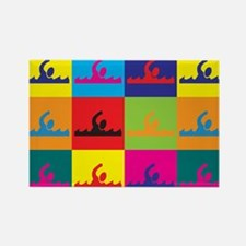 Swimming Pop Art Rectangle Magnet