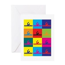 Swimming Pop Art Greeting Card
