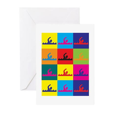 Swimming Pop Art Greeting Cards (Pk of 10)