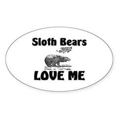 Sloth Bears Love Me Oval Decal