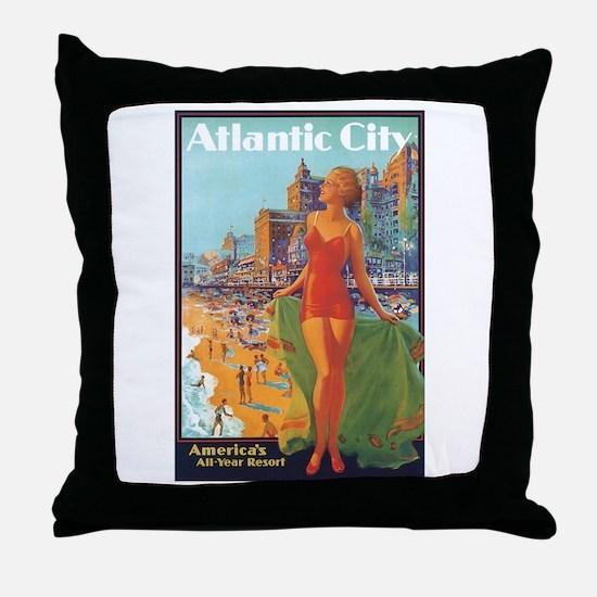 Atlantic City NJ Throw Pillow