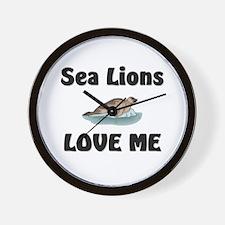 Sea Lions Love Me Wall Clock