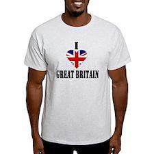 I Love Great Britain Ash Grey T-Shirt