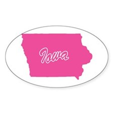 Pink Iowa Oval Stickers